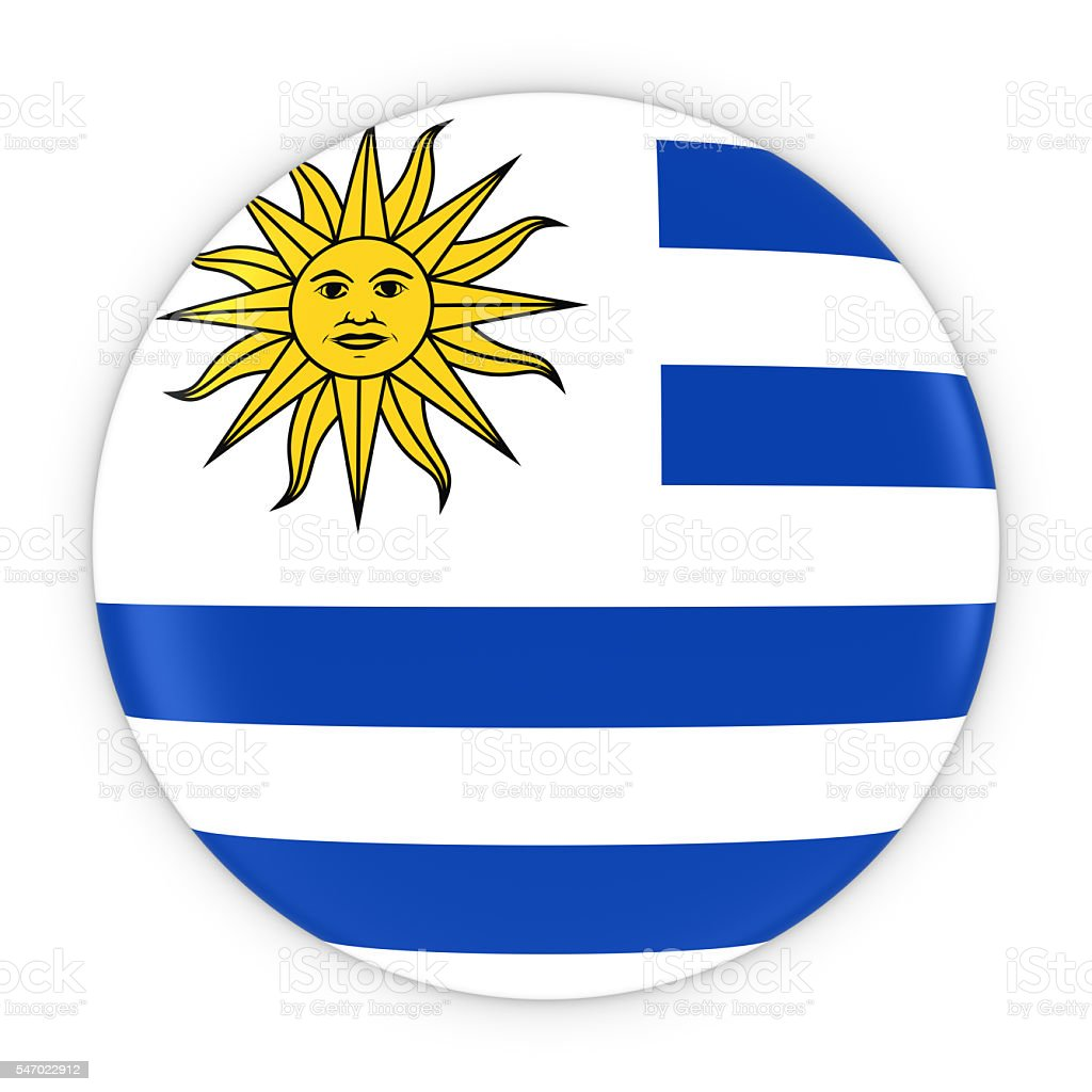 Uruguayan Flag Button - Flag of Uruguay Badge 3D Illustration - foto de acervo
