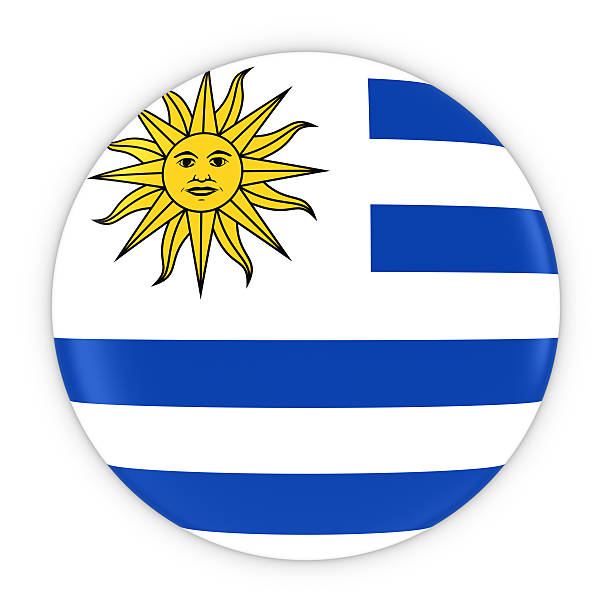 Uruguayan Flag Button - Flag of Uruguay Badge 3D Illustration - foto de stock