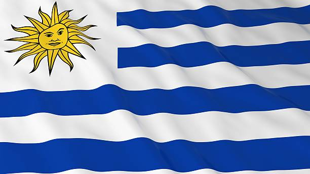 Uruguayan Flag HD Background - Flag of Uruguay 3D Illustration - foto de stock