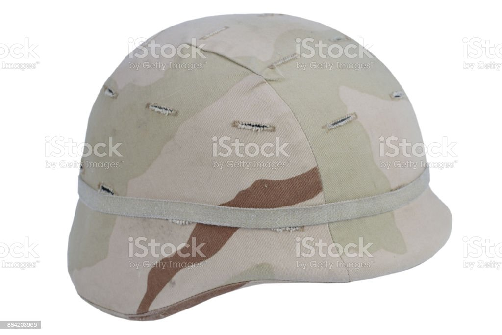 us army kevlar helmet with a desert camouflage cover stock photo