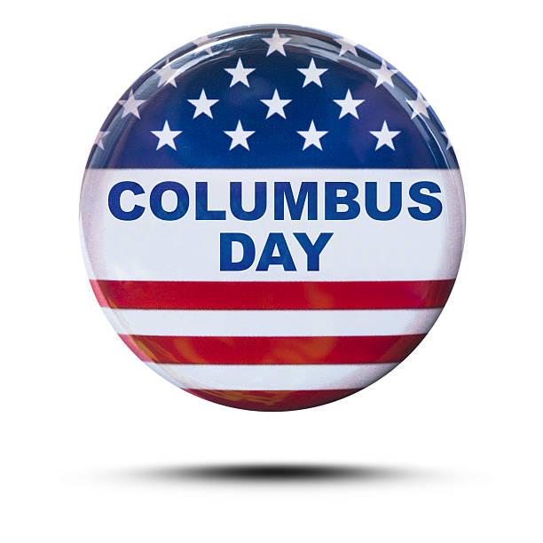 미국 배지 버튼을 콜럼버스 일-연도 - columbus day 뉴스 사진 이미지
