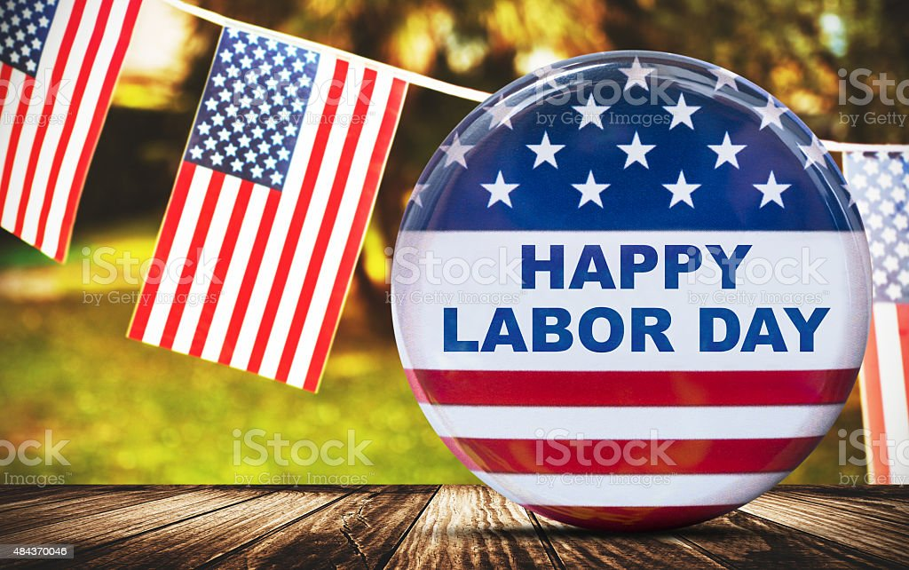 us badge button for labor day stock photo