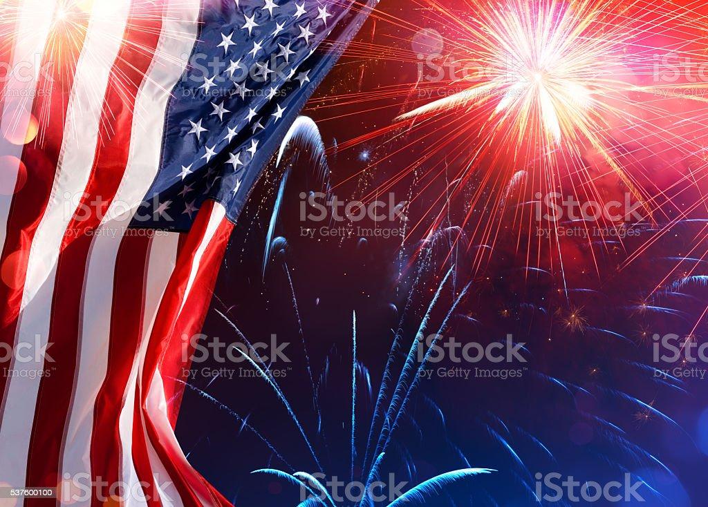 Us Celebration - Usa Flag With Fireworks American Flag With Fireworks In The Sky American Flag Stock Photo
