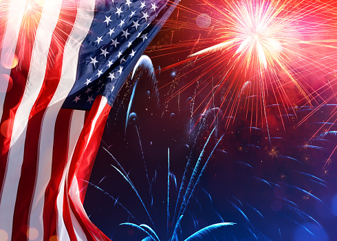 Us Celebration Usa Flag With Fireworks Stock Photo - Download Image Now