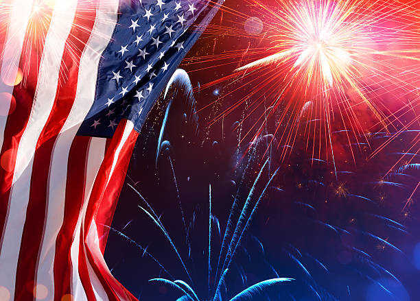 Us Celebration - Usa Flag With Fireworks American Flag With Fireworks In The Sky independence day photos stock pictures, royalty-free photos & images