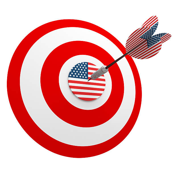 3D Us Dart in Center of USA Target stock photo