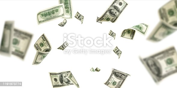 Money falling and American money. Washington american cash, usd background.