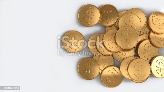 istock us dollar coins pile gold top view white background 3d rendering 949860734