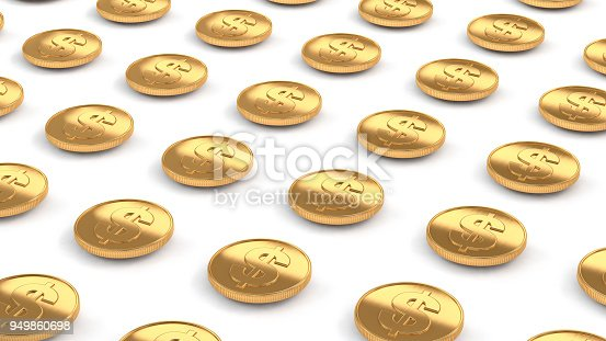 istock us dollar gold coins line up flying over white floor 3d rendering 949860698