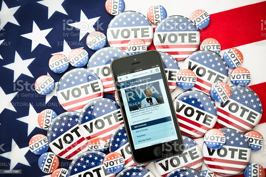 Us election 2012 Barack Obama in the iphone 5 screen royalty-free stock photo