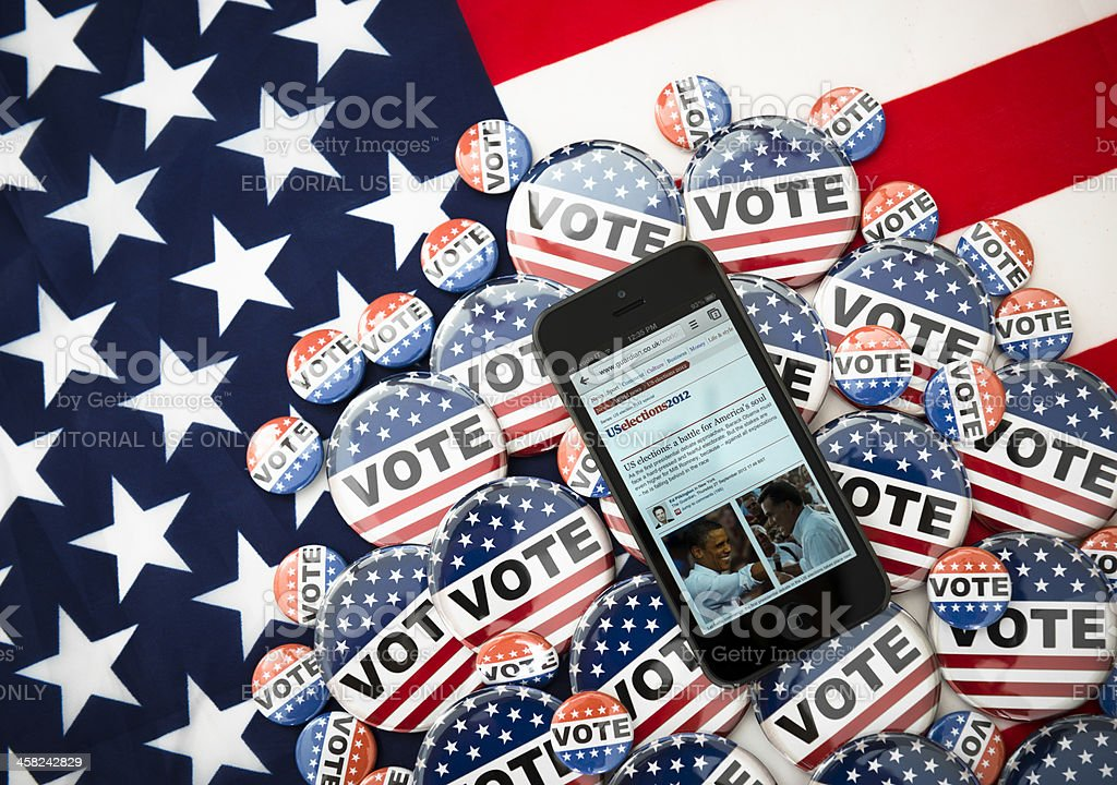 Us election 2012 with iphone 5 stock photo