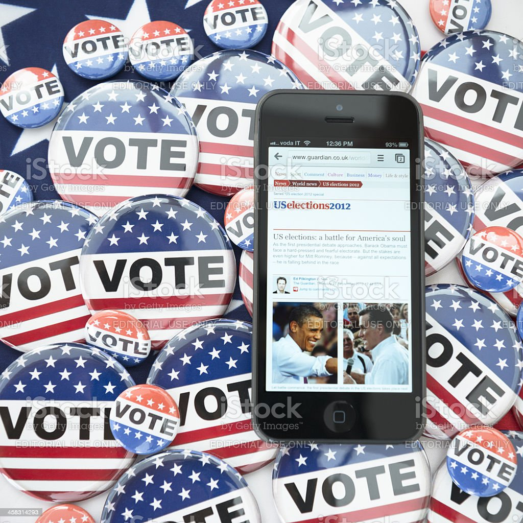 Us election 2012 with iphone 5 royalty-free stock photo