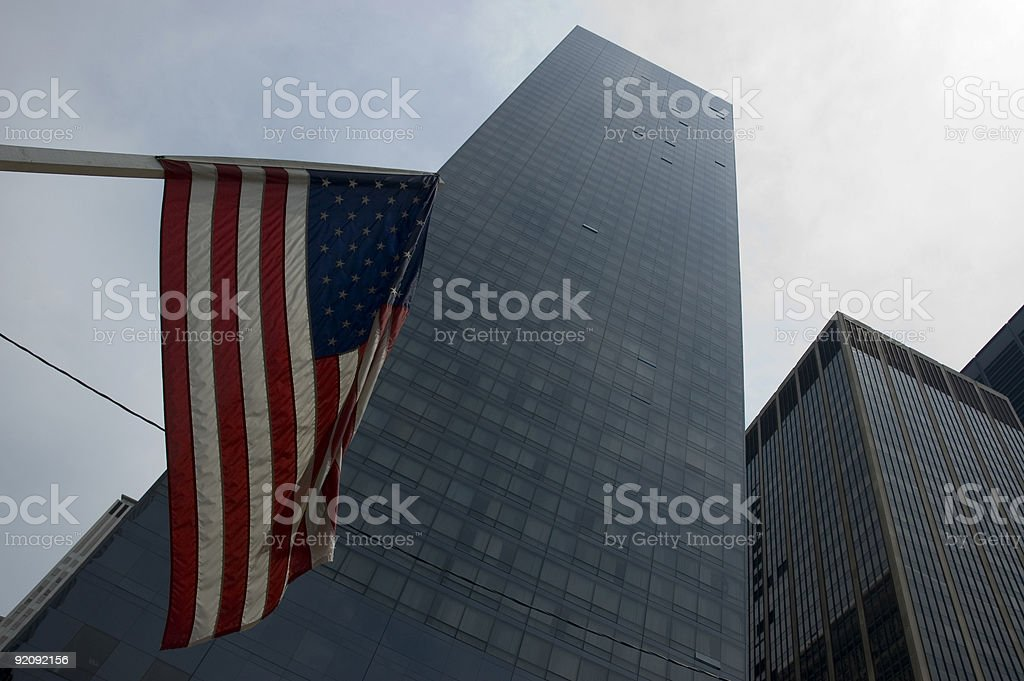 us flag - corporate building royalty-free stock photo