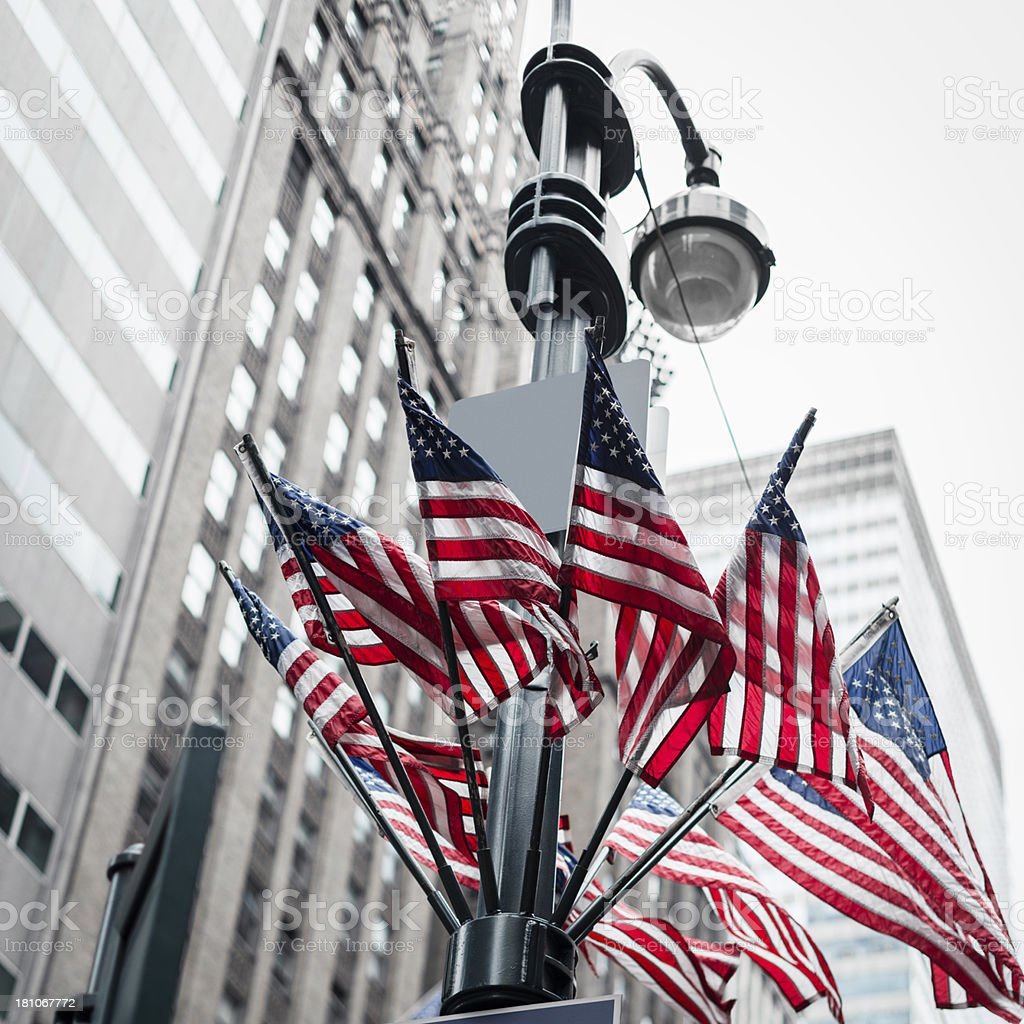 us flag for 4th of july on manhattan stock photo