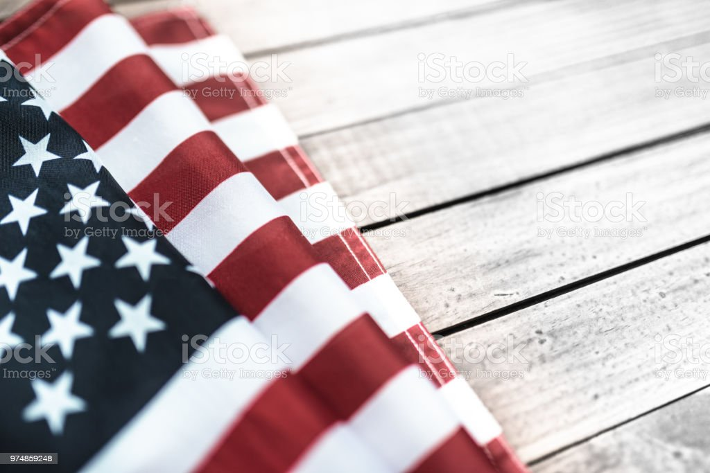 us flag on a plank wood stock photo