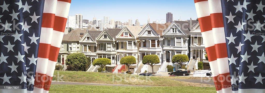 Us flag on the San Francisco skyline royalty-free stock photo