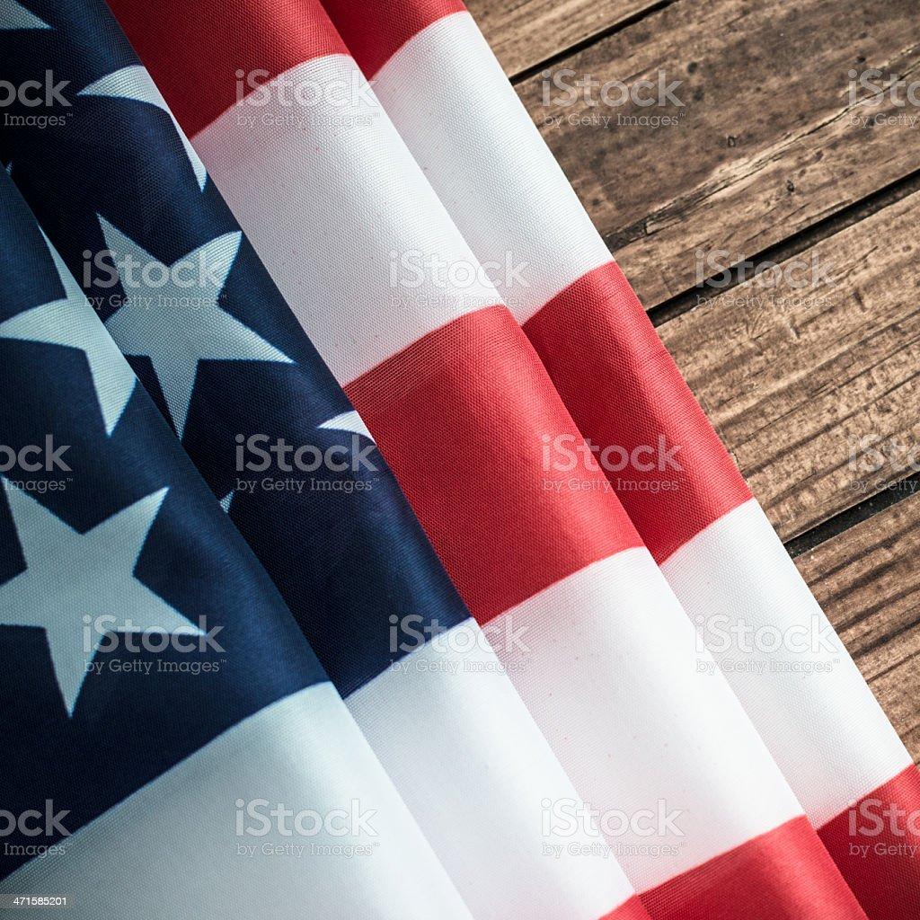 Us flag on wood stock photo