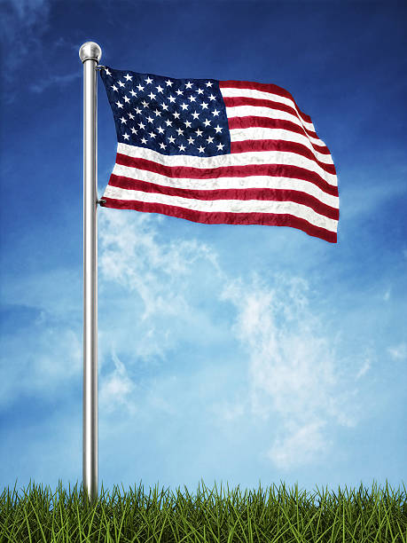 us flag waving on the horizont stock photo