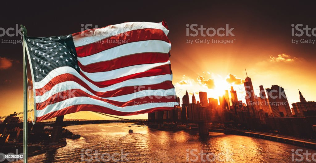 us flag with fireworks in new york city stock photo