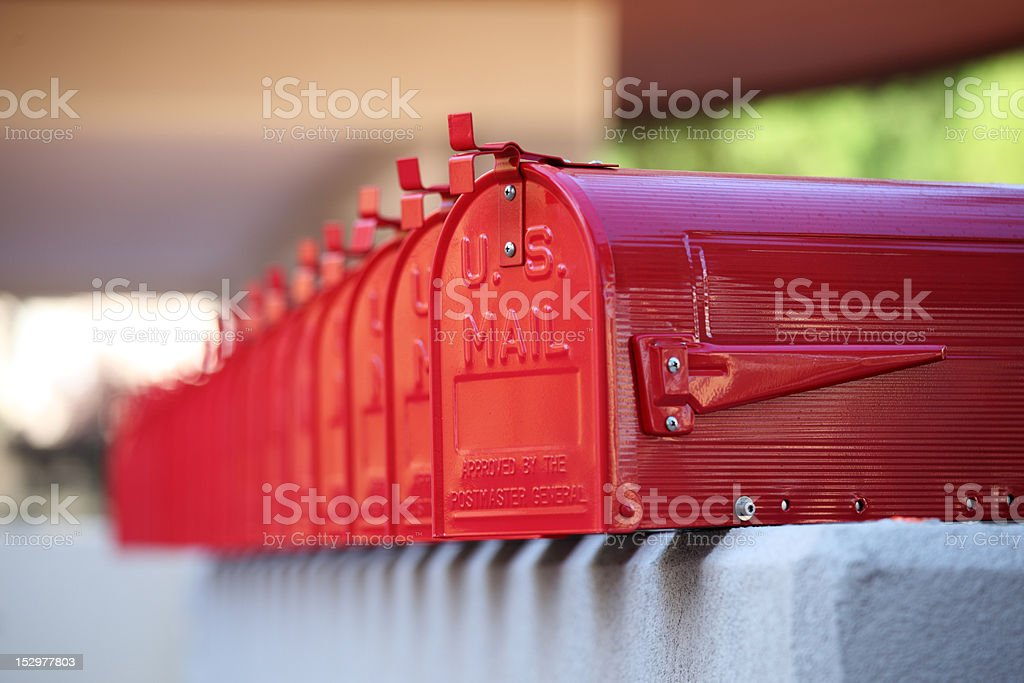 us glossy red mailbox repetition and blurred background stock photo