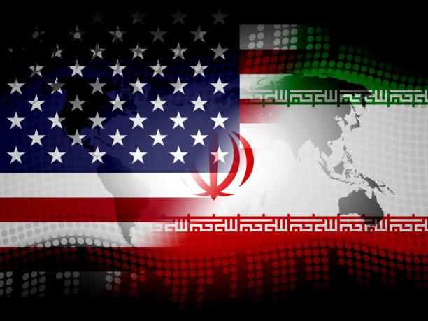 Us Iran Conflict And Sanctions Or Agreement - 2d Illustration Us Iran Conflict And Sanctions Or Agreement. Trade Deals And Crisis Or Tension - 2d Illustration iran stock pictures, royalty-free photos & images