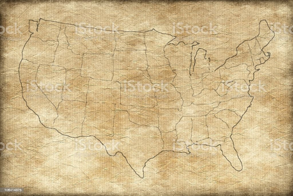 Us Map On Old Paper Stock Photo IStock - Parchment paper map of us