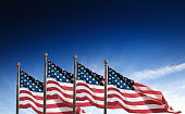 us national flag waving on the wind