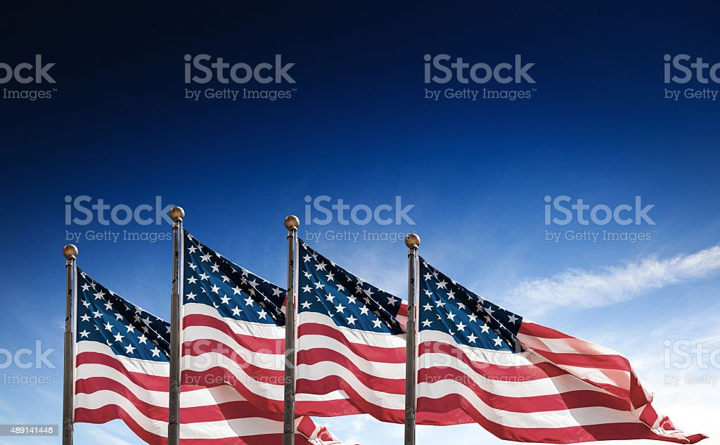 us national flag waving on the wind foto