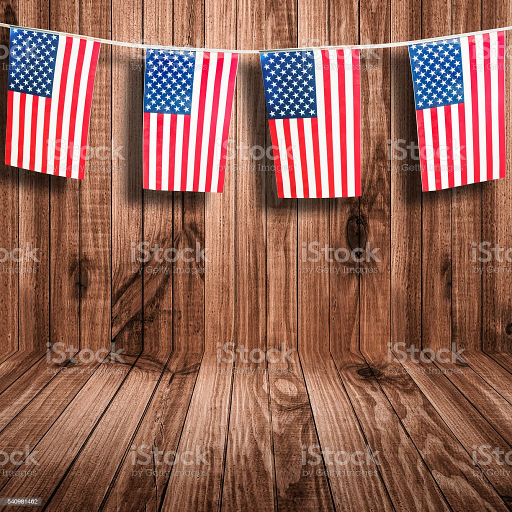 us national holiday pennants at the seaside stock photo