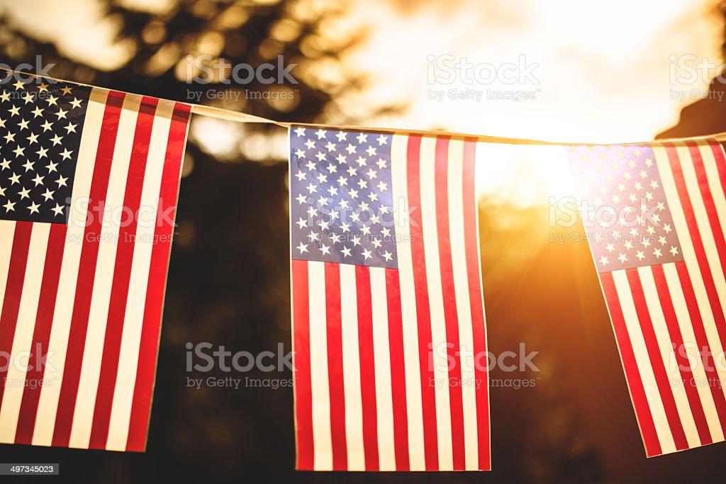 us national holiday pennants stock photo