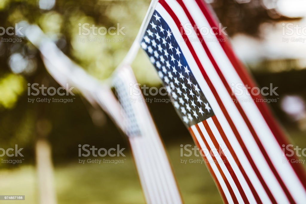 us pennant close up for the fourth of july celebration stock photo