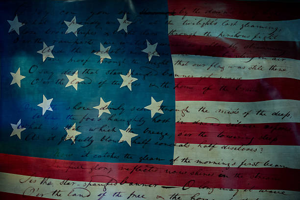 usa america national anthem star spangled banner - national anthem stock photos and pictures