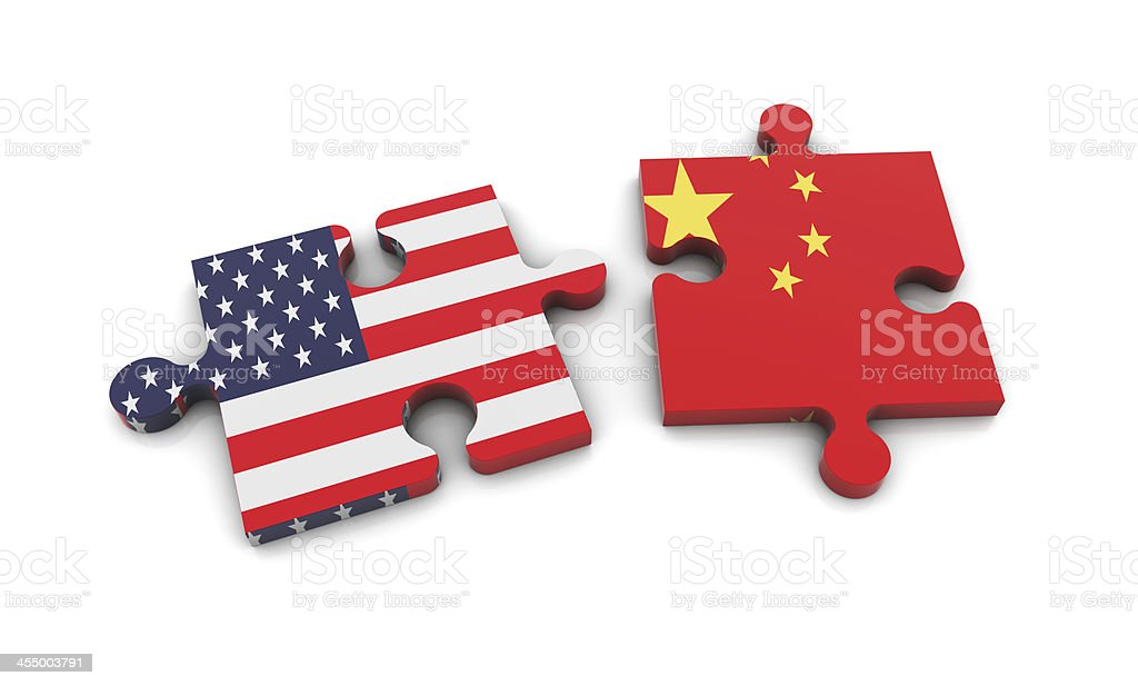 Usa and China Flags on Puzzle stock photo