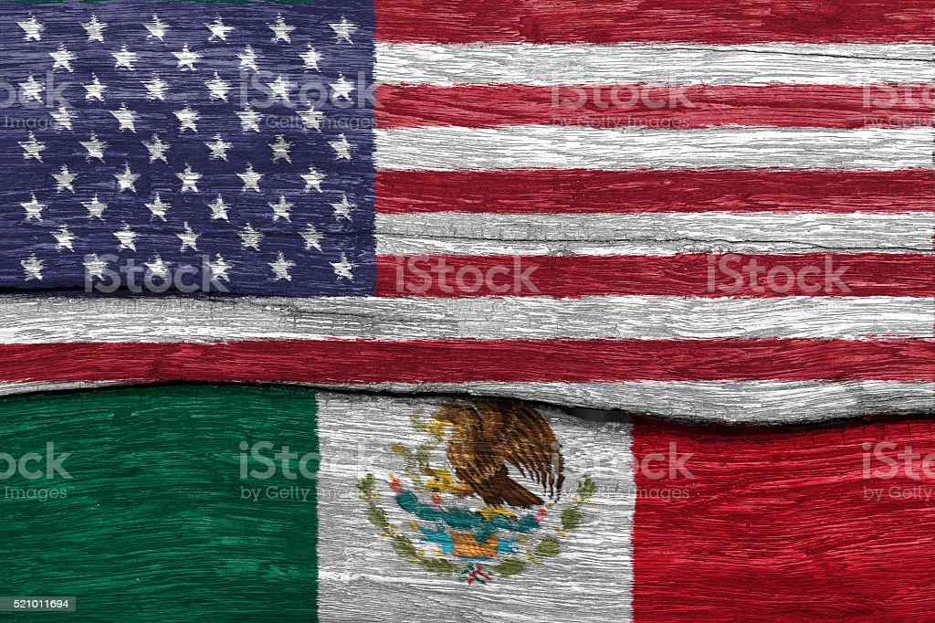 usa and mexico flag on wood stock photo