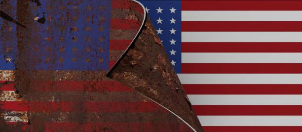 сша изменения флага страницы нового правительства надеемся, что новый президент новые идеи ржавый старый американский флаг - 3d рендеринга - biden стоковые фото и изображения