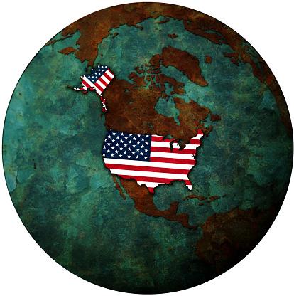 istock usa flag on map of earth globe 909263150