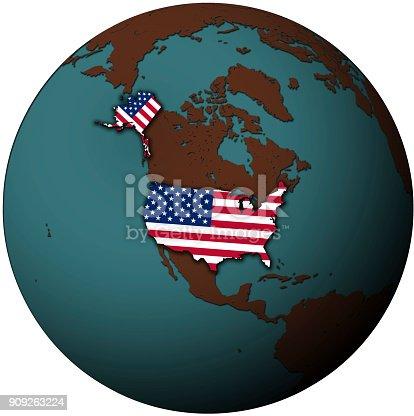istock usa flag on map of earth globe 909263224