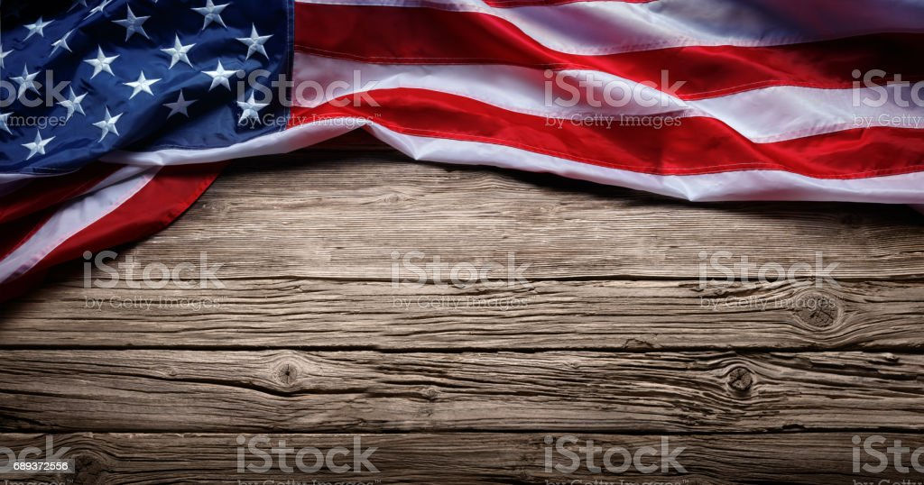 Usa Flag On Vintage Wooden Background stock photo