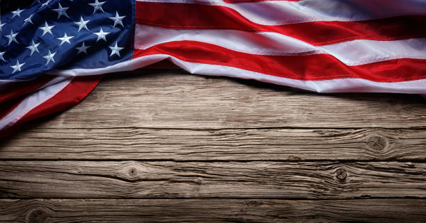 usa flag on vintage wooden background - american flag background stock pictures, royalty-free photos & images