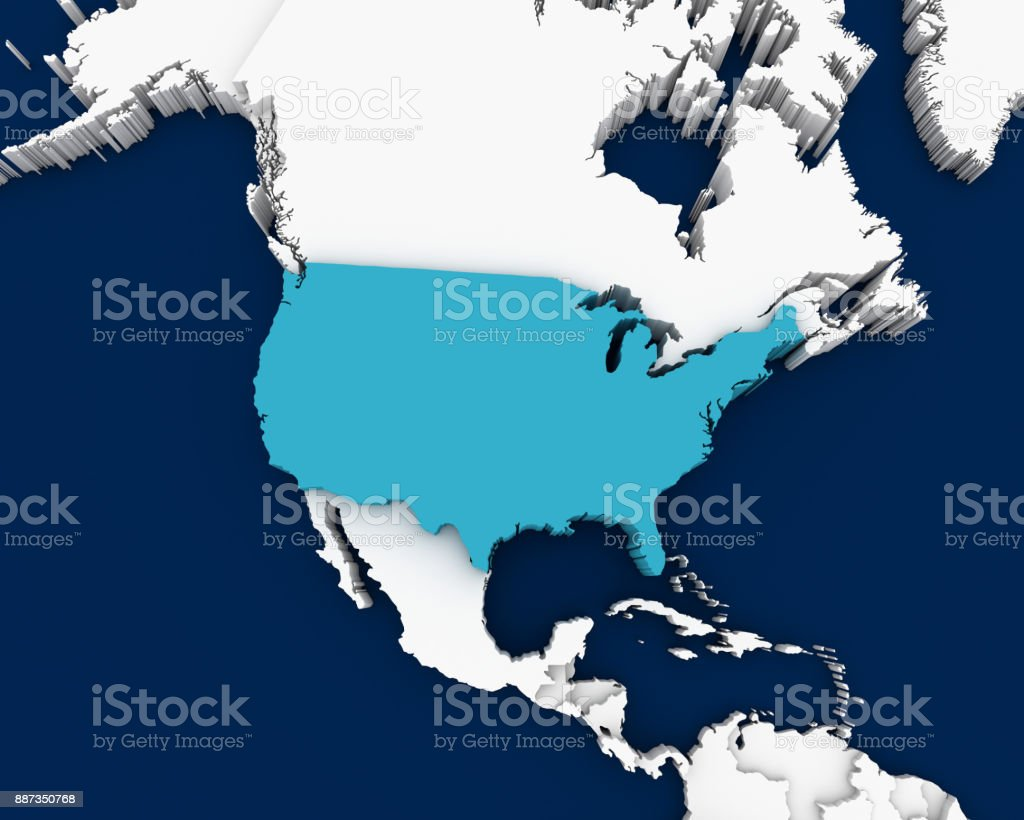 Usa Map 3d Illustration Stock Photo & More Pictures of Abstract | iStock