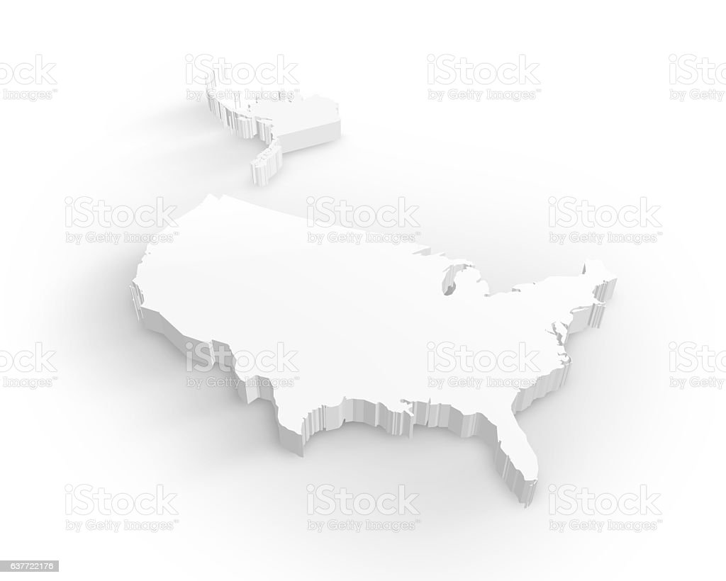 3D usa map stock photo