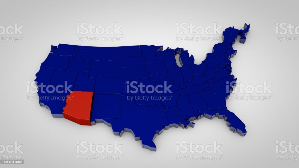 usa map with arizona map highlited 3d render stock photo
