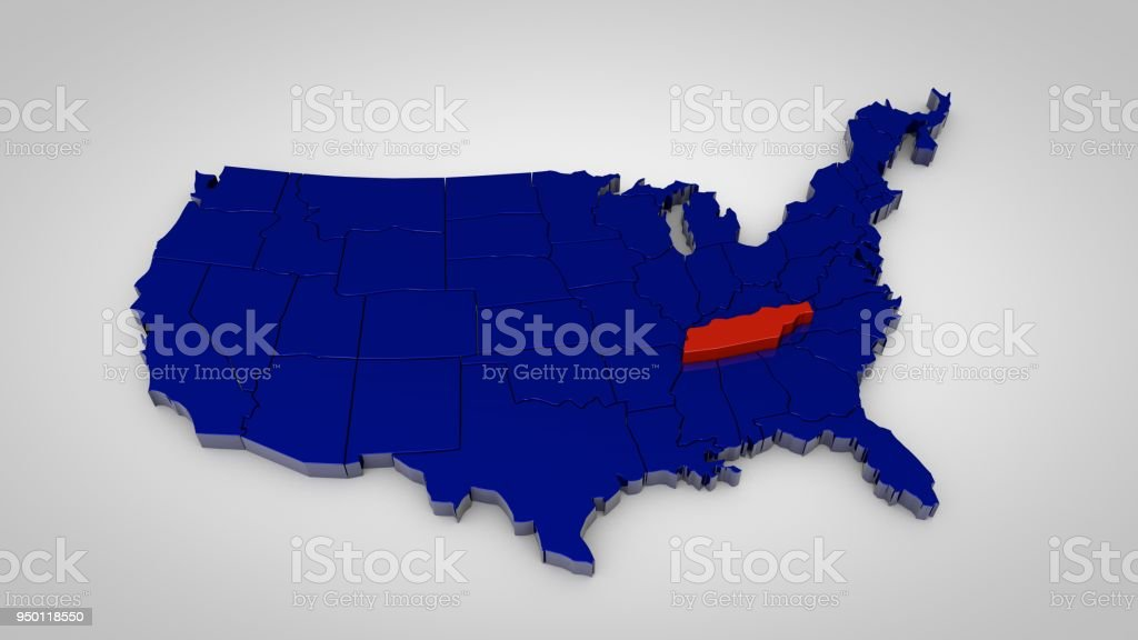 Usa Map With Tennessee Map Highlited 3d Render Stock Photo & More ...