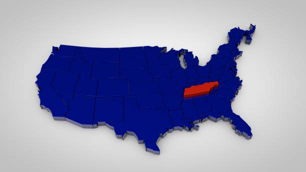 usa map with tennessee map highlited 3d render - tennessee map stock photos and pictures