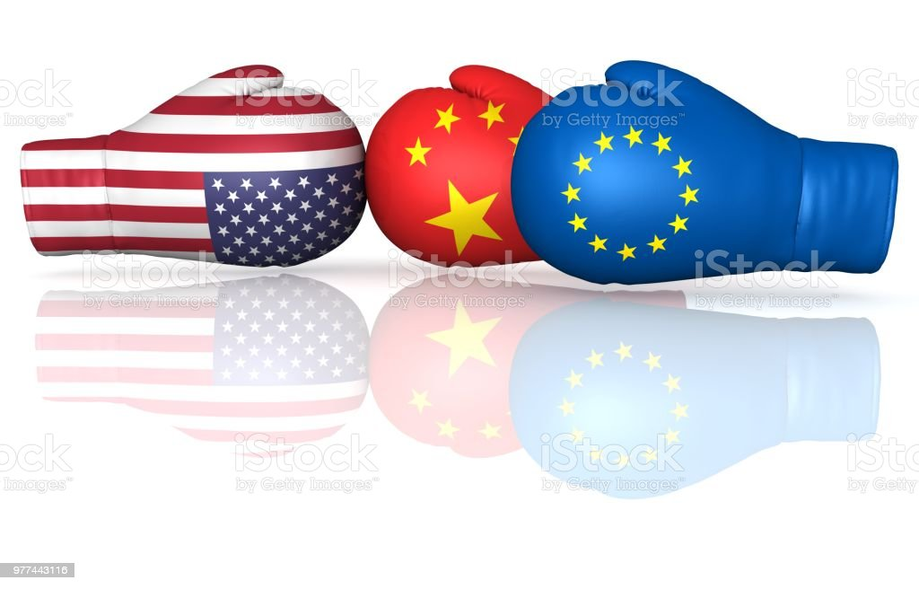 usa us china eu eurozone europe trade war punitive tariff duty tax crisis confrontation 3d boxing gloves flags military political economic problems confrontation armament  isolated on white background stock photo