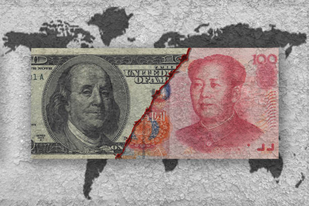 usa versus china, economic war concept - foto stock