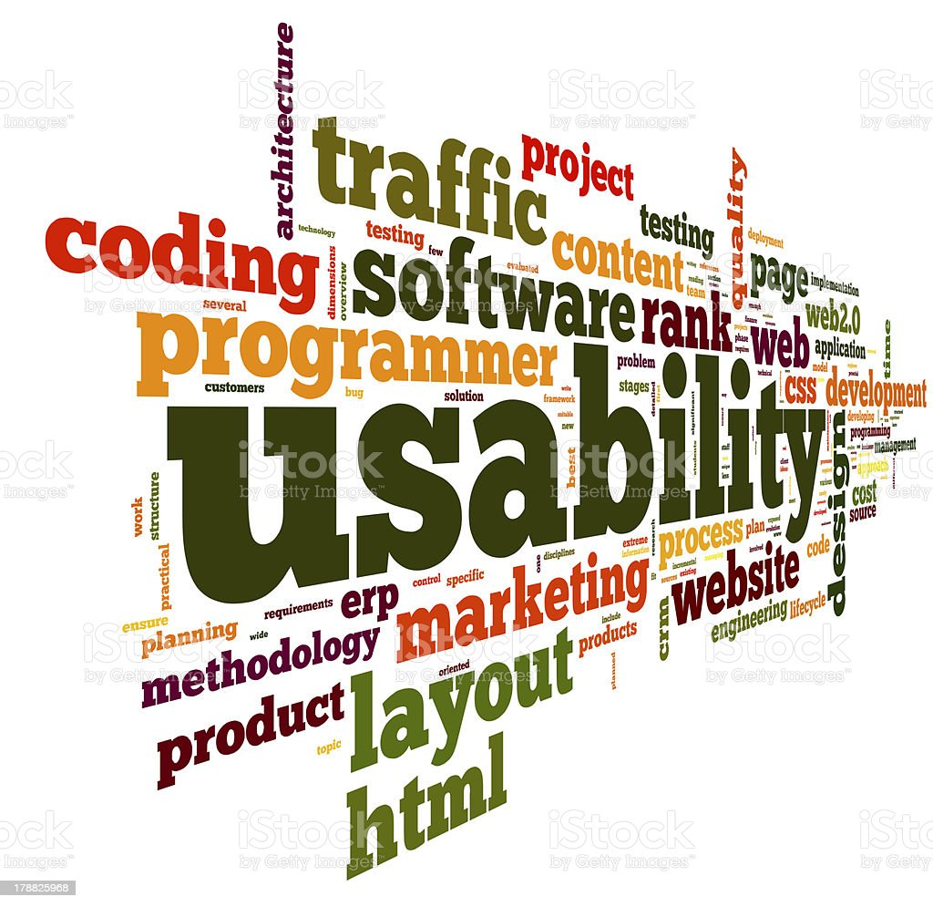 Usability concept expressed in a tag word cloud royalty-free stock photo