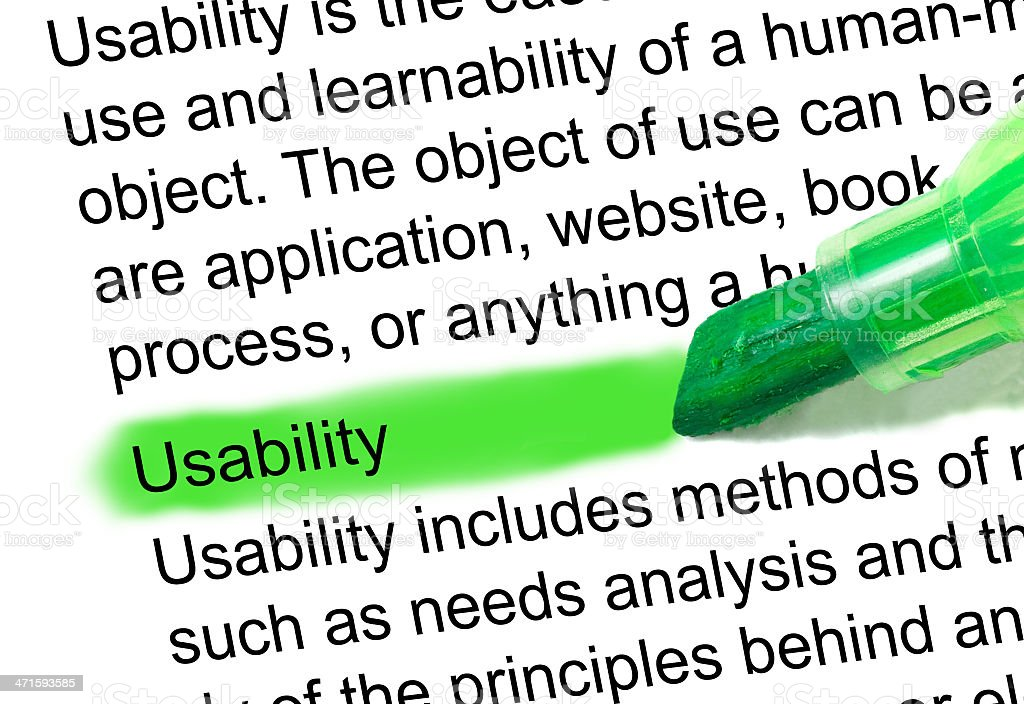 usability definition highlighted in dictionary stock photo