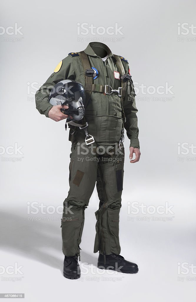 Usable fighter pilot's body with his helmet Fighter pilot's body without head to use for retouch. Adult Stock Photo
