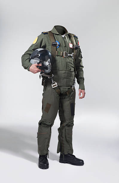 Usable fighter pilot's body with his helmet Fighter pilot's body without head to use for retouch. major military rank stock pictures, royalty-free photos & images